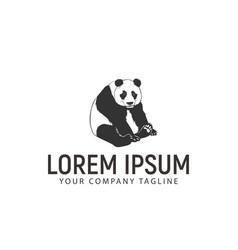 panda sits logo design concept template vector image