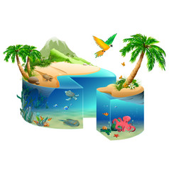 Paradise tropical island cake shape isolated on vector