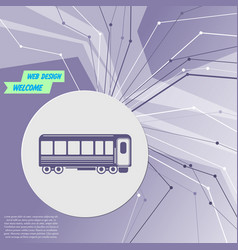 Passenger wagons train icon on purple abstract vector