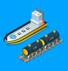 petroleum industry shipping oil with train or vector image