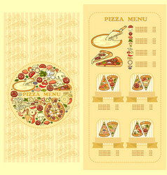 Pizza menu card set of cute various pizza vector