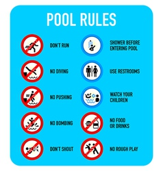 Pool rules signs vector
