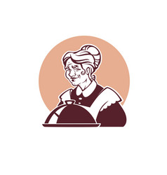 Portrait of lovely grandmother and home made food vector