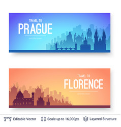 Prague and florence famous city scapes vector