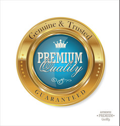premium quality blue and gold button vector image