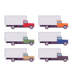 refrigerator truck set in bright colors vector image