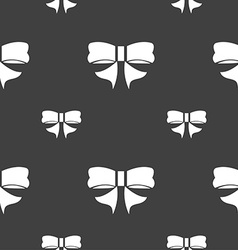 Ribbon Bow icon sign Seamless pattern on a gray vector image