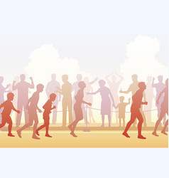 runners and crowd vector image