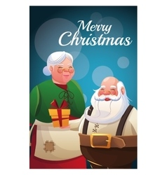 Santa and wife cartoon of Christmas season vector