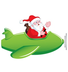 Santa in Airplane vector