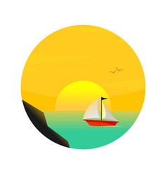 sea sailing sunset scenery vector image