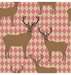 Seamless pattern with deers vector