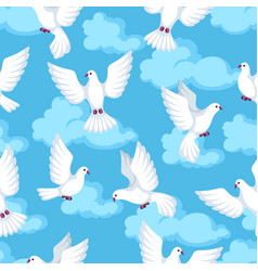 Seamless pattern with white doves beautiful vector