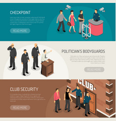 Security isometric banners set vector