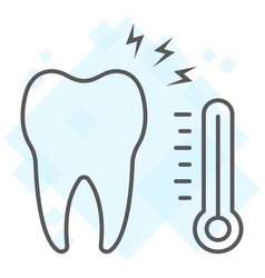 Sensetive tooth thin line icon stomatology vector