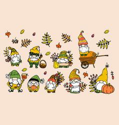 Set autumn gnomes a collection hand vector