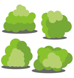 Set of four different cartoon green bushes vector