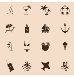 Set of travel and beach Icons vector image
