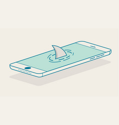 Shark fin above smartphone vector