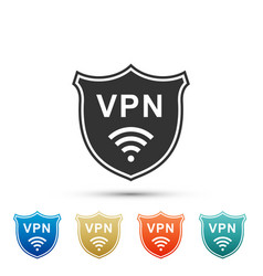 Shield with vpn and wifi wireless internet network vector