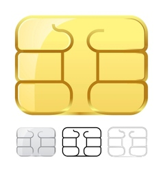 Sim card chip isolated on white vector image