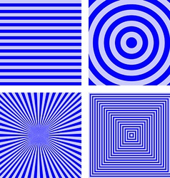 Simple blue striped pattern background set vector image