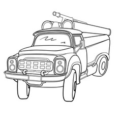 sketch a fire truck coloring book isolated vector image