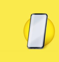 Smartphone presentation mockup in yellow color vector