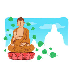 smiling buddha for vesak day greeting vector image