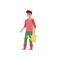 smiling guy with yellow watering can in hand vector image