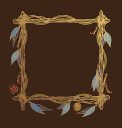 Square golden frame made of branches with vector