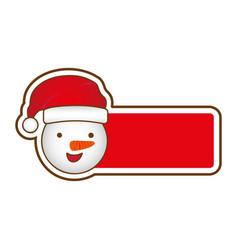 sticker banner with cartoon snowman christmas vector image