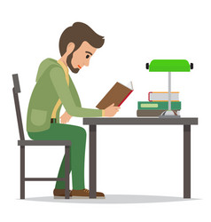student reading textbook in library flat vector image