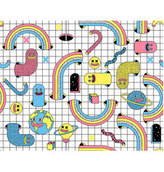 Surreal seamless pattern with emoji vector