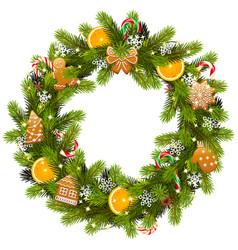 Sweet christmas fir wreath vector