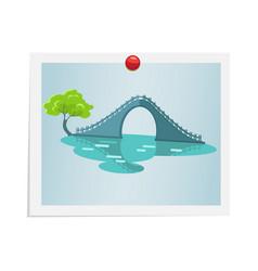 Taiwanese bridge on photograph isolated on white vector