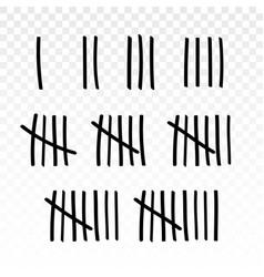 Tally marks prison jail wall count slash vector