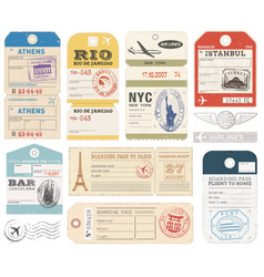 Travel luggage tags vector