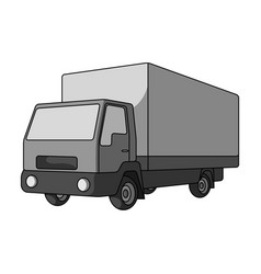 truck with awningcar single icon in monochrome vector image