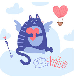 valentine s day greeting card cupid cat heaving a vector image