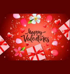 valentines day sale background with gift box vector image