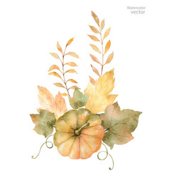 Watercolor autumn bouquet leaves vector