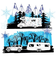 Winter landscape with camper van vector