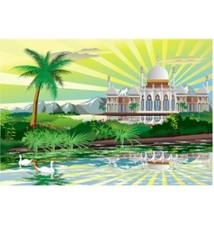 Arabic Palace on the shore of a beautiful lake vector image vector image