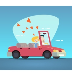 Cartoon Convertible Car Happy Male and Female vector image vector image