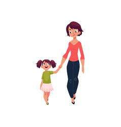 mother and daughter walking together holding hands vector image vector image