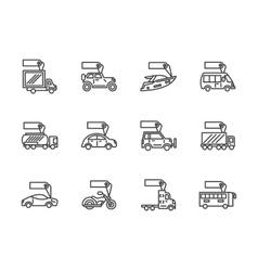 Vehicles sale black line icons set vector image