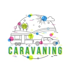 Caravaning Background with icons and vector image