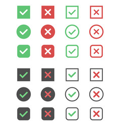 check box icons tick and cross signs check mark vector image