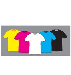 coloured blank t-shirts template set vector image